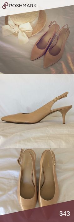 """Classic Nine West Nude Slingback Pumps S10M Classic Nine West """"7 Greatest"""" Slingback Pumps in Nude Leather with gold buckles. Excellent nearly new condition, worn once. Heels approx 2-3/4"""". Leather upper, man made balance.  Shown with Boater Hat by Toucan New York, available under separate listing in my Posh Closet. Beautiful and classic everyday pumps! Nine West Shoes Heels"""