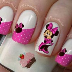 Minnie Mouse Inspired Nails With Pink Nail Polish and Polka Dots
