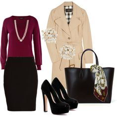 YES. YES. YES. Pencil skirt, wine sweater, pumps, purse with scarf, and trench.