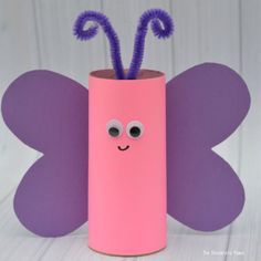 Reuse paper rolls to make this toilet paper roll butterfly craft. Kids can make them as a craft for Valentine's Day, spring, summer, or a butterfly unit.