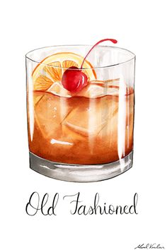 Watercolor Food, Watercolor Fashion, Watercolor Illustration, Watercolor Paintings, Old Fashioned Drink, Old Fashioned Cocktail, Cocktail Illustration, Cocktails Drawing, Cupcake Drawing