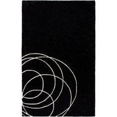 Solid Bold - Swirls  Black #modernrugs #colorfulRugs #coolRugs #ModRugs #blackrug