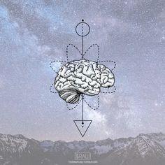 Dotwork geometric brain tattoo design