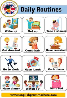 Daily Routines and Activities List and Example Sentences; Table of Contents Daily RoutinesList of Daily Routines in EnglishTalking About LocationTalking Daily Routine Worksheet, Daily Routine Activities, List Of Activities, Daily Routines, Activities In English, Teaching English Grammar, English Vocabulary, Daily Vocabulary, English Lessons