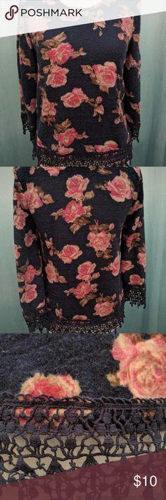 Rue 21 dark blue and pink flower quarter sleeve Quarter sleeve,  soft Rue 21 Tops Blouses