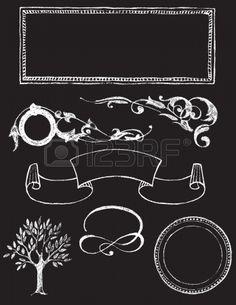Set Van Krijtbord Vector Design Elementen - Charkboard 1 Royalty Vrije Cliparts, Vectoren, En Stock Illustratie. Pic 17197274.