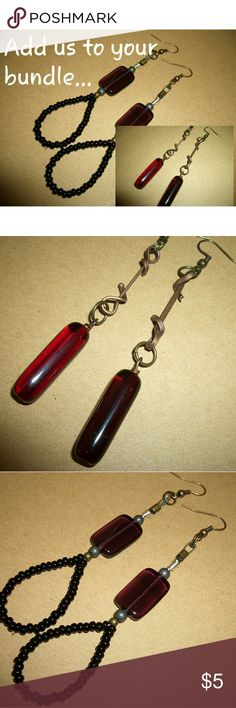 Dangle Ladies Earring Set Artisan created pieces... Each set hangs almost 3 inches long... Deep Purple glass beads... Deep raspberry red beads... more tiny black seed beads... great pieces to have with all your wardrobe Jewelry Earrings