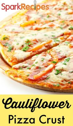 Cauliflower Pizza Crust. This is GAME-CHANGING! Love that I can have my pizza without all the carbs!| via @SparkPeople #lowcarb #healthy #pizza #recipe