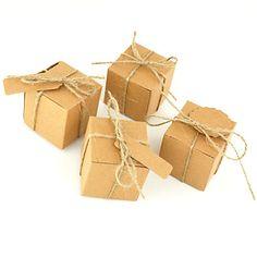 50pcs Square Kraft Box Paper Bag Wedding Box Candy Box For Wedding Decoration With Name Card Gift Box Wedding Favors – NZD $ 23.73