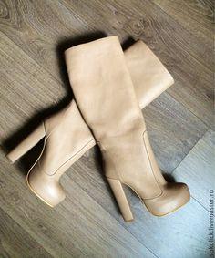 Купить Сапоги Monro beige - бежевый, сапоги, натральная кожа, сапоги ручной работы