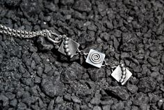 Handmade pendant, oxidized sterling silver, 10mm square, beaded wire, spiral link, rolo chain - pinned by pin4etsy.com