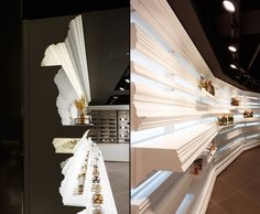 Love the extruded shelf!!!!  IL LAGO Bakery Wine shop by Design BONO Goyang City South Korea