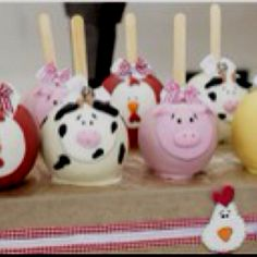 Other cute cake pops. Farm animal party