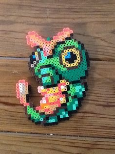 #10 - Caterpie - Pokemon perler beads by Escalotes - Pattern: https://www.pinterest.com/pin/374291419009110234/