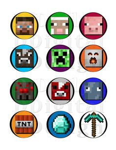 Minecraft DIY Printable Stickers/ Cake/Cupcake Toppers/  Party Favors/  Favor Bag Decorations/ Cup Stickers/ Envelope Seals AVERY Compatible...