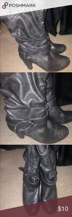 Grey Mid Rise Boot Heels Call or Text (301)327-1525 Fort Washington, MD Size 7-8 Great condition Easy to walk in Come halfway up calf Shoes Heeled Boots