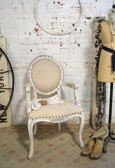 Painted Cottage Chic Shabby Farmhouse Arm Chair [CHR300] - $395.00 : The Painted Cottage, Vintage Painted Furniture