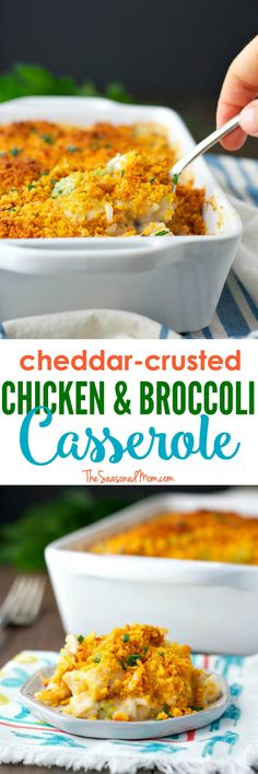 This Cheddar Crusted Chicken and Broccoli Casserole is an easy and wholesome weeknight dinner that's perfect for picky little eaters! Just in time for back-to-school season and cool fall evenings, it's a great make-ahead option for busy days! #HorizonOrganic #ad @horizonorganic