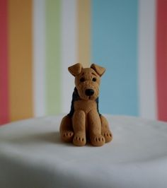 This adorable Lakeland Terrier is one of a range of dogs I have designed for use as a cake topper or just to give as a gift. Each figure is individually hand sculpted using lightweight polymer clay and stands approx high. Welsh Terrier, Terrier Dogs, Dog Cake Topper, Cake Toppers, Fondant Cat, Curling Stone, Xmas Cakes, Lakeland Terrier, Fondant Figures