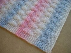 This is the easiest baby blanket with the most classic look. Knitted Afghans, Knitted Baby Blankets, Baby Blanket Crochet, Crochet Baby, Free Baby Blanket Patterns, Baby Knitting Patterns, Knit Rug, Basic Crochet Stitches, Knitted Throws