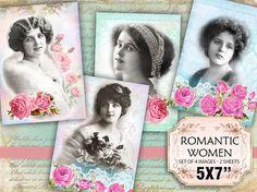 Pastel Victorian Women Roses Shabby chic french whimsical Scrapbook Decoupage 5x7 inch #karisagraphic #etsy #digitalcollagesheet #digital #collage #sheet #shabby #shabbychic # vintage #romantic#ephemera
