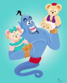 I'm getting a little bit better with digital art. Duffy and Shelliemay belong to Disney Gen. Genie, Duffy, and Shelliemay Disney Dream, Disney Love, Disney Stuff, Duffy The Disney Bear, Disney Phone Wallpaper, Happy Friends, Bear Art, Disney Films, Disney Fan Art