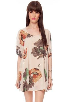 Fall Floral Dress in Cream