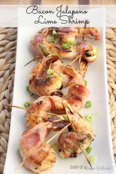 "Bacon Jalapeno Lime Shrimp _ We made these shrimp last Saturday night. They were so good. It was such a great grilling recipe. We ate them with some grilled corn on the cob. DELISH! These are so fabulous! My husband's exact words were, ""I feel like I'm at a restaurant."""