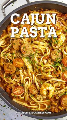 This Cajun pasta recipe is loaded with shrimp and smoked andouille sausage, with lots of flavorful Cajun seasonings, so easy to make, a perfect weeknight dinner! It's pasta night in the Chili Pepper Madness kitchen, my friends. Everyone loves pasta night, don't they? Pasta is very satisfying and it's usually super easy to prepare. There are so many ways to make it. For me, the secret is in the sauce and the seasonings. And the fun extras! Smoked Sausage Recipes, Spicy Chicken Recipes, Cajun Recipes, Italian Recipes, Beef Recipes, Cooking Recipes, Healthy Recipes, Healthy Foods, Yummy Recipes