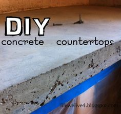 DIY : How to Pour Concrete Counter Tops Easy pour in place method! & Cheap counter top update for future home! Poured Concrete Counters, Epoxy Countertop, Cheap Countertops, Bathroom Countertops, Stone Countertops, Concrete Floors, Countertop Options, Concrete Sink, Concrete Table