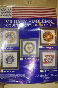 Military Navy Emblem Counted Cross Stitch Pattern Kit Needles N Hoops #548 #NeedlesnHoops