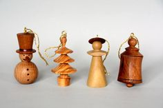 Christmas tree decorations a set of four traditional