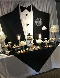 Black tie party decoration in 2019 birthday party, blac 60th Birthday Party, Man Birthday, Birthday Party Decorations, Wedding Decorations, Black Party Decorations, Birthday Backdrop, Decoration Party, Table Decorations, Wedding Favors