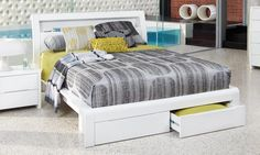Benton White - High Gloss King Size Bed | Bedshed