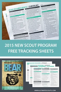 Cub Scouts Bear Tracking Sheet. Printable for scouts binder.