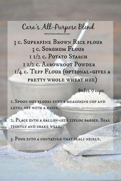 Cara's AP Blend (Superfine Brown Rice Flour, sorghum flour, potato starch, arrowroot powder, teff flour)