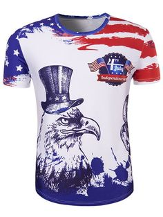 537b15a6a9a1 Independence Day eagle tshirt for men American flag short sleeve tee