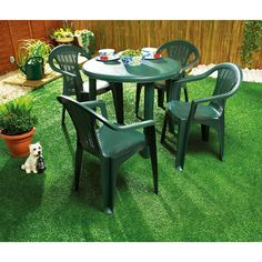 Green plastic garden table for home use