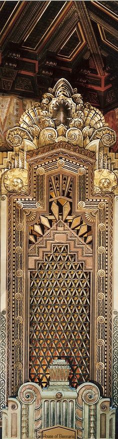 Interior of the Pantages theatre ornamental art deco design | The House of Beccaria