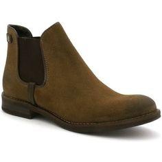 6e72d81d59988 Bottines coco abricot v0284c de couleur taupe, en cuir. Chaussures avec un  talon de