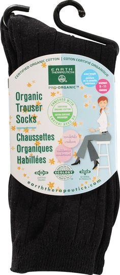 Earth Therapeutics Womens Organic Trouser Socks Black