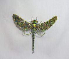 Brooch Dragonfly Aeschna viridis Green by FantasyIznakurnozh