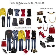 How to create 34 styles from just 10 garments!  INTERESTING  combinations....