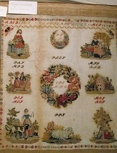 A Stunning Century European In The Biedermeier Style Embroidery Sampler, Yesterday And Today, Display Ideas, 19th Century, Picture Frames, Needlework, Vintage World Maps, Ornament, Cross Stitch