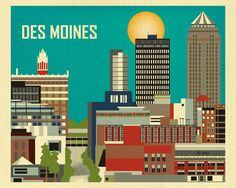 Des Moines, Iowa is available in an array of finishes, materials, and sizes, this retro inspired wall art will make Des Moines feel close to your heart with its bright color palette and unique design.