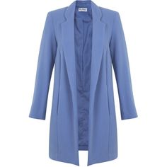 Miss Selfridge Blue Duster Coat ($105) ❤ liked on Polyvore featuring outerwear, coats, blue, blue coat, miss selfridge e duster coat