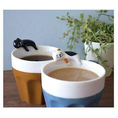 Concombre by DECOLE Japan Cute Ceramic Sleeping Cat Mug - Black cat, Calico cat
