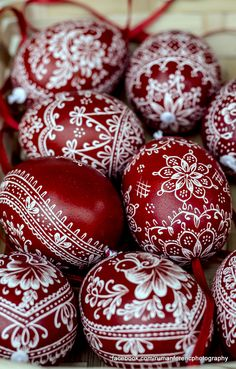 beautiful burgundy and white Ukrainian eggs