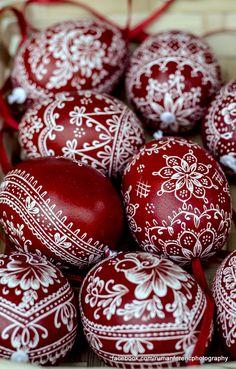 beautiful burgundy and white Ukrainian eggs