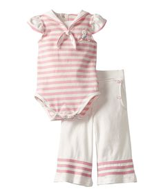 Look at this #zulilyfind! Bunnies by the Bay Pink & White Fair Seas Sailor Bodysuit & Pants - Infant by Bunnies by the Bay #zulilyfinds